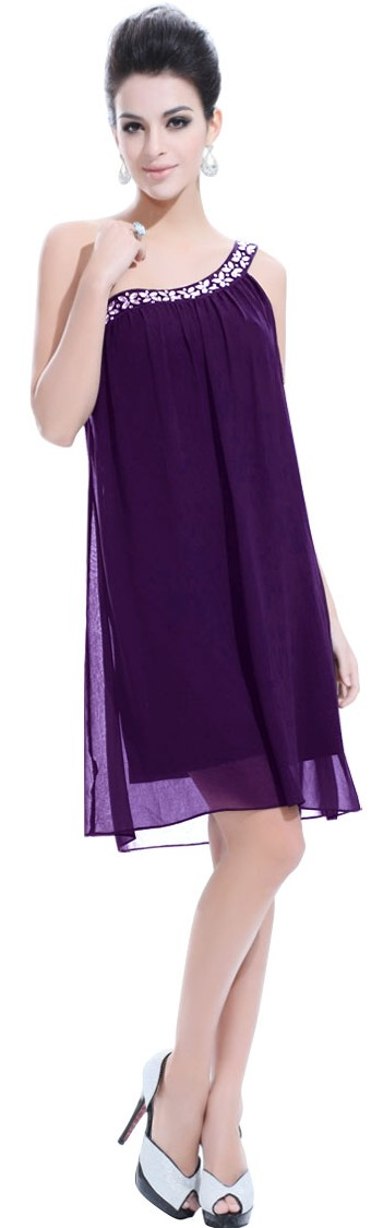Formal Dresses - Short Plus Size Cocktail Dress. In Stock In Dark Purple (3XL). FREE And ...