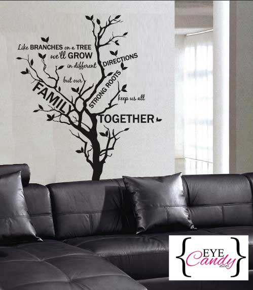 Wall Decals Family Branches Wall Quote Vinyl Sticker