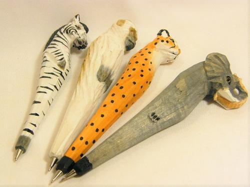 Stationery - Lot of 4 wooden hand carved animal pens - zebra, elephant ...