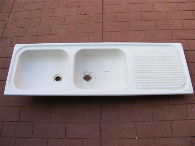Sinks taps fibreglass double kitchen sink with drying rack area was sold for on 15 aug - Kitchen sink drying rack ...