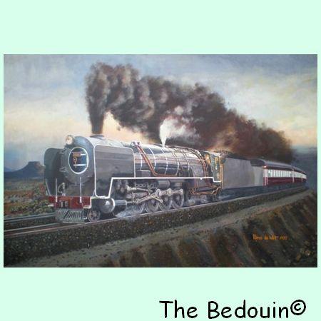 artist class 25 nc locomotive 3434 near de aar oil painting 1977