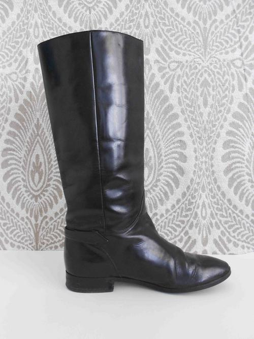 shoes vintage black patent leather knee high flat boots
