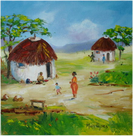 Paintings african huts 1 oil painting crazy start r1 for How to start oil painting