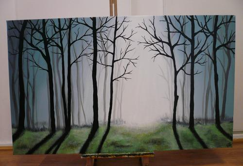 Acrylics misty forest acrylic painting on canvas was for Painting a forest in acrylics