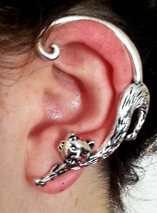 Other Earrings Cat Wrap Around Earring Ear Cuff Silver