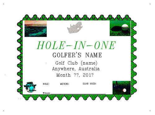Hole In One Certificate Template